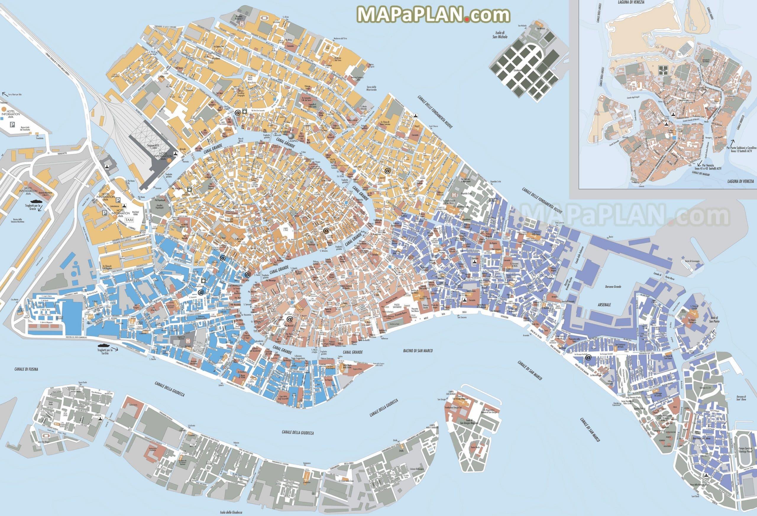 Cartina Turistica Di Venezia.Mappe E Percorsi Dettagliate Di Venezia
