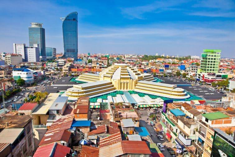 Vue panoramique sur Central Market, Phnom Penh