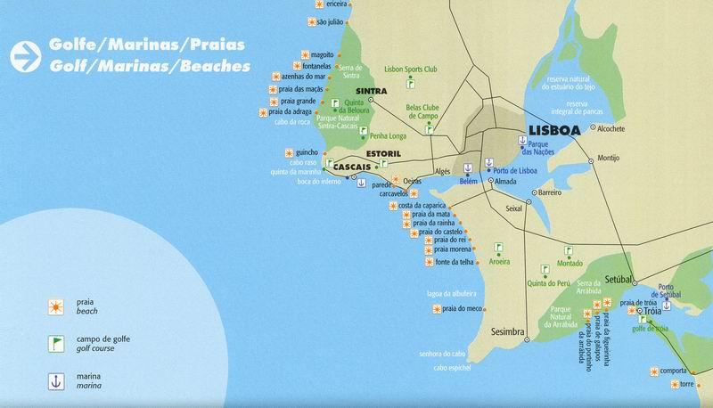 Plan & Carte des Plages de Lisbonne