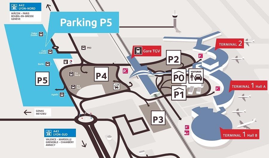 Plan des parkings de l'aéroport de Lyon