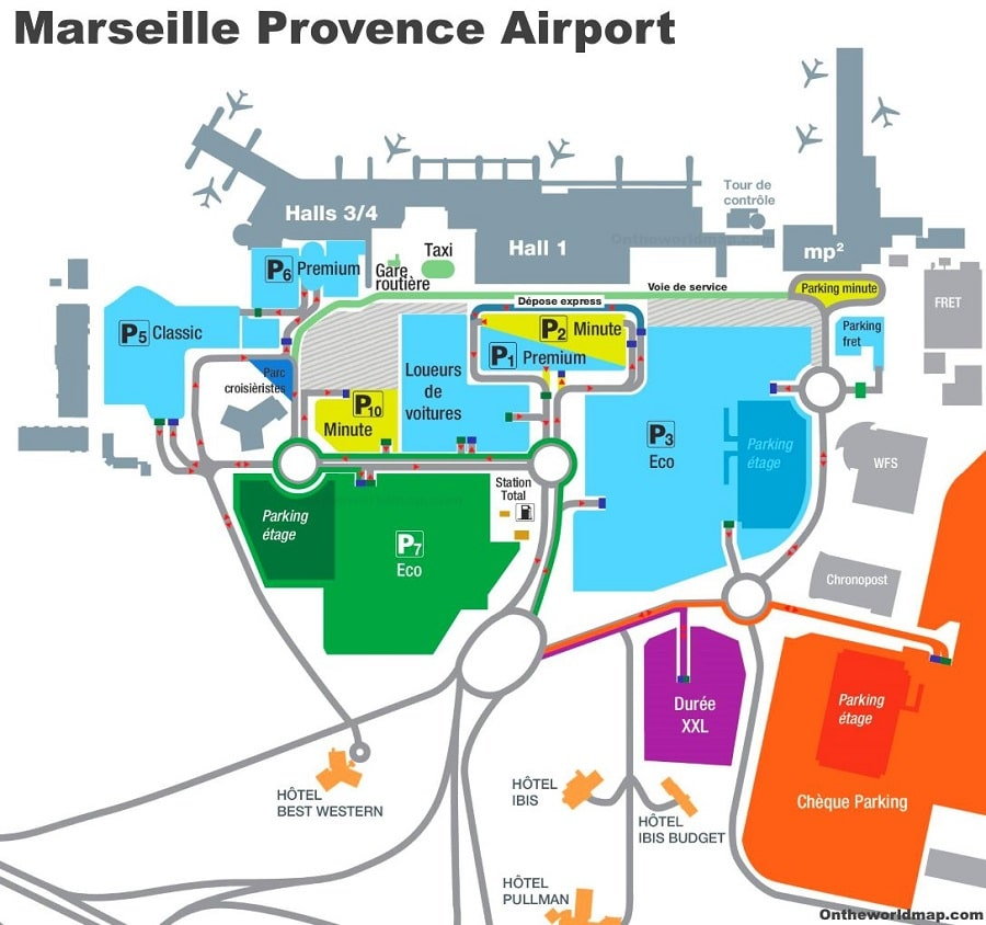 Plan des parkings de l'aéroport de Marseille