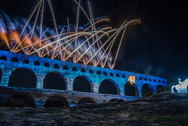 Pont du Gard, lumières, féeries, nuit