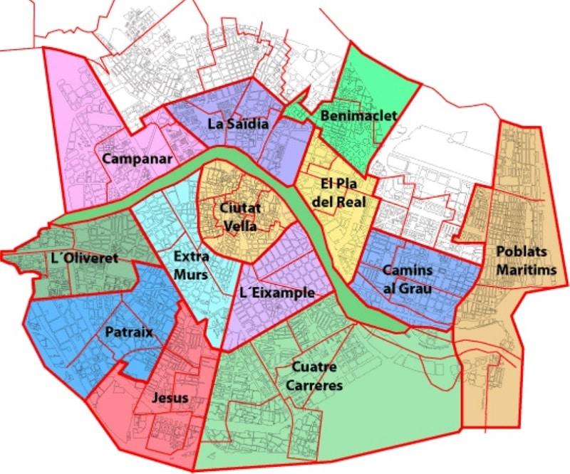 Carte des zones de parkings à Valence