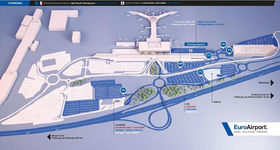 Plan des parkings de l'aéroport de Bâle-Mulhouse