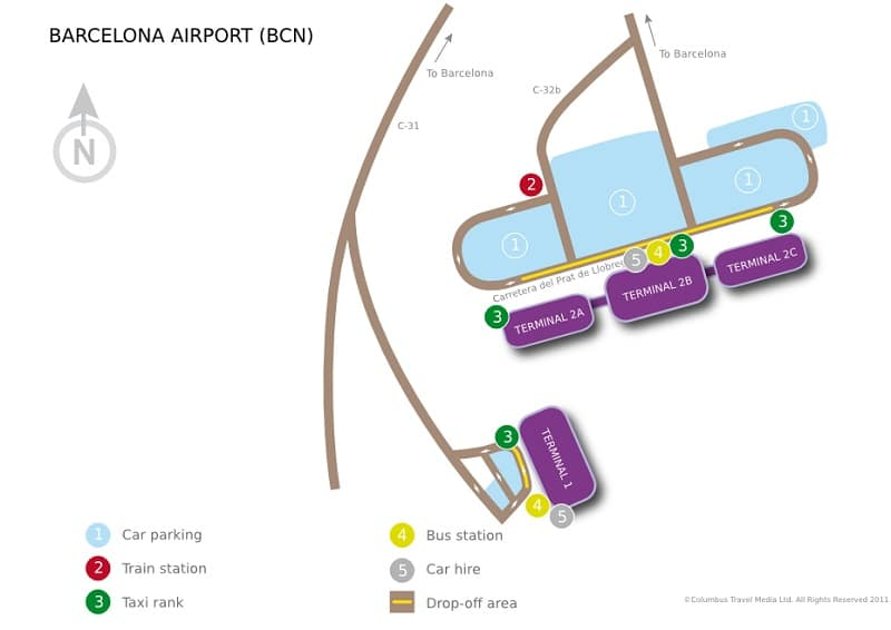 Plan des parkings de l'aéroport de Barcelone
