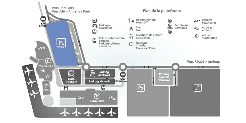 Plan des parkings de l'aéroport de Beauvais