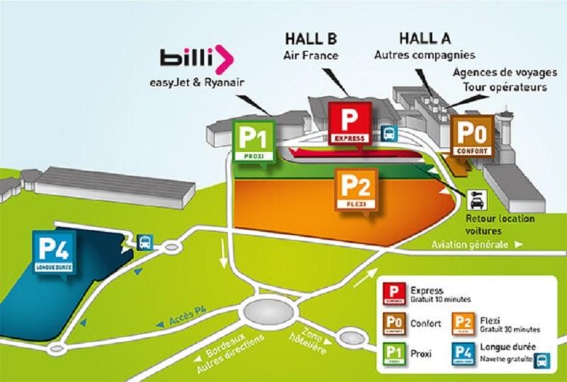 Plan des parkings de l'aéroport de Bordeaux