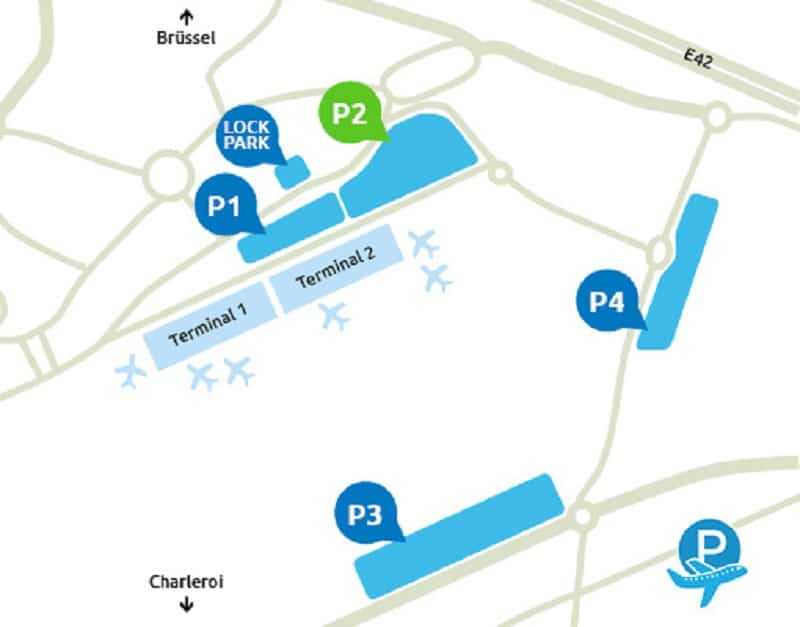 Plan des parkings de l'aéroport de Charleroi