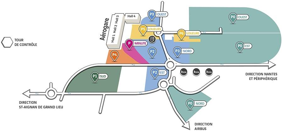 Plan des parkings de l'aéroport de Nantes