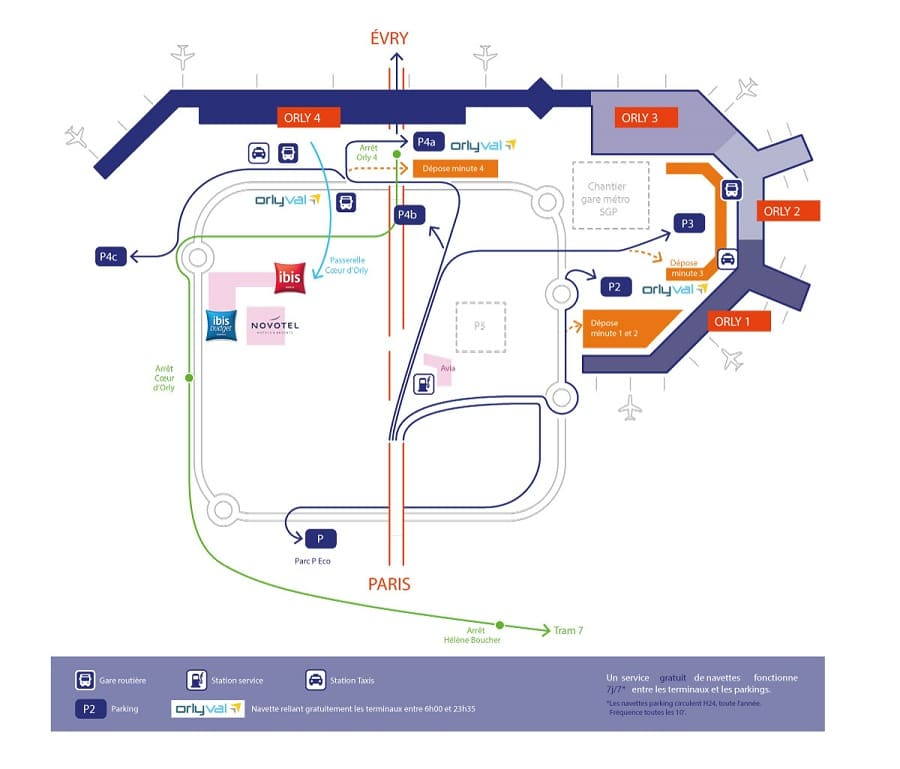 Plan des parkings de l'aéroport de Paris-Orly