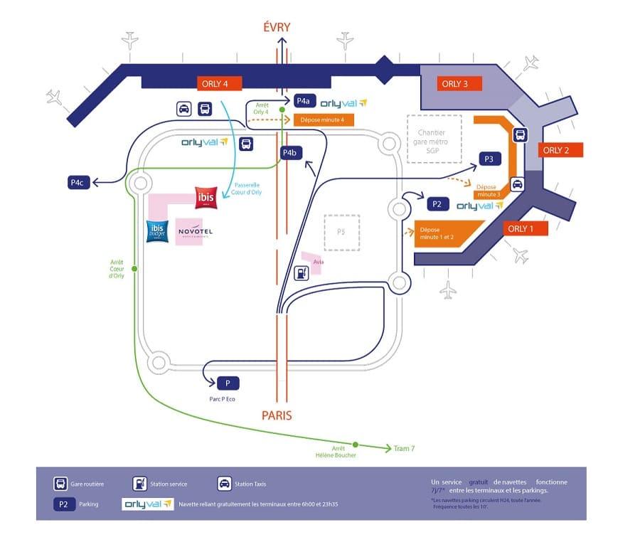 Plan des parkings de l'aéroport de Paris-Orly