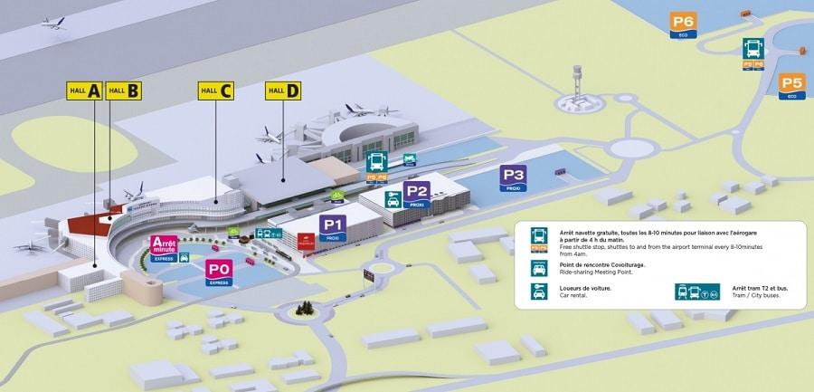 Plan des parkings de l'aéroport de Toulouse