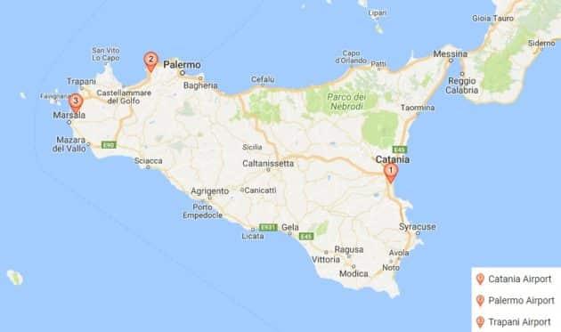 Carte des aéroports principaux de Sicile