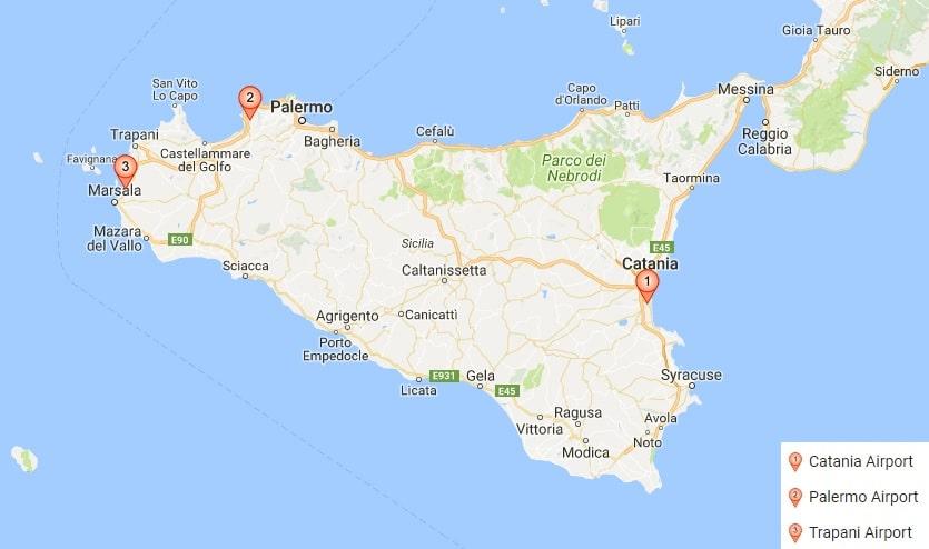Carte Italie Aeroport Ryanair.Aeroports De Sicile Dans Quel Aeroport Atterrir Pour Aller