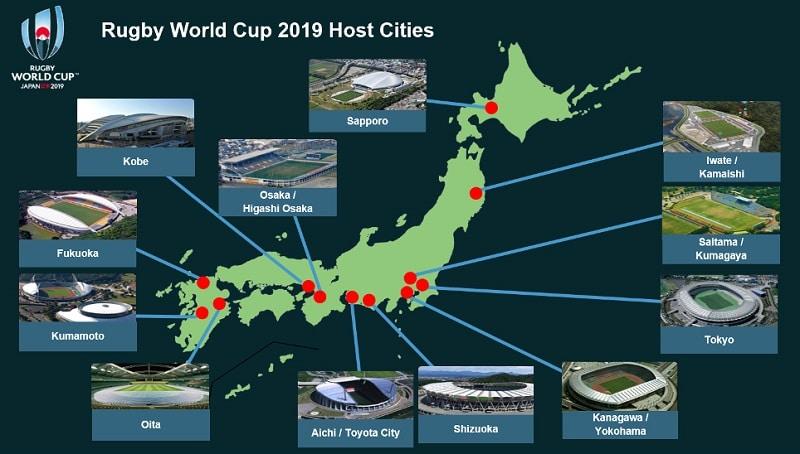 Carte des villes hôtes au Japon pour la Coupe du Monde de rugby 2019