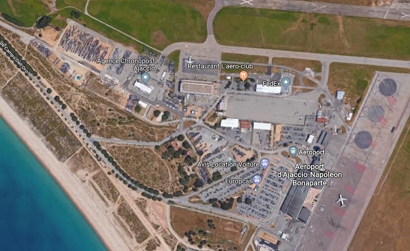 Plan des parkings de l'aéroport d'Ajaccio