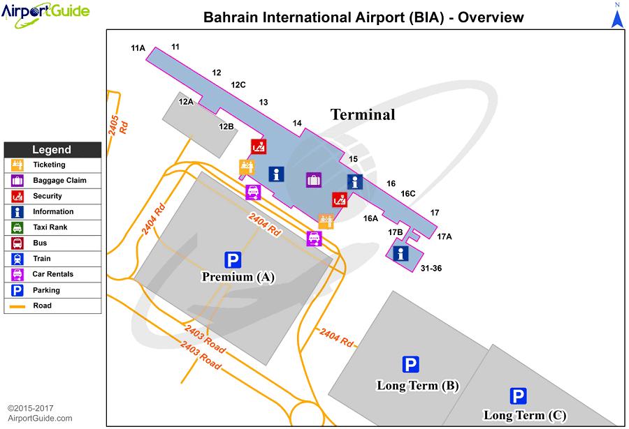 Plan des parkings de l'aéroport de Bastia