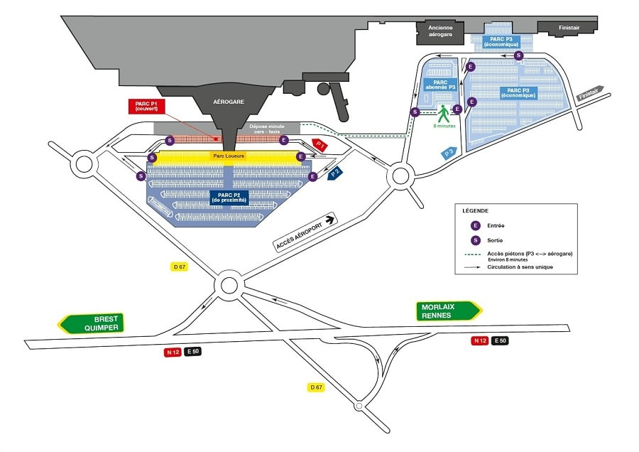 Plan des parkings de l'aéroport de Brest