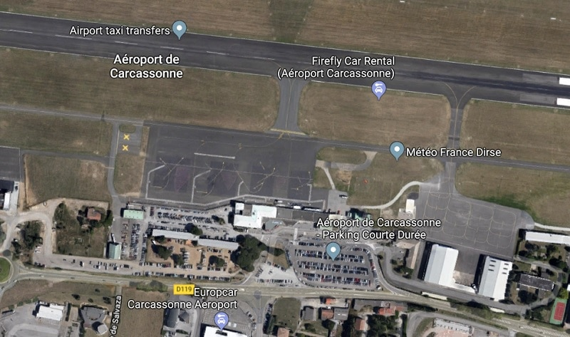 Plan des parkings de l'aéroport de Carcassonne