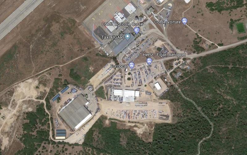 Plan des parkings de l'aéroport de Figari