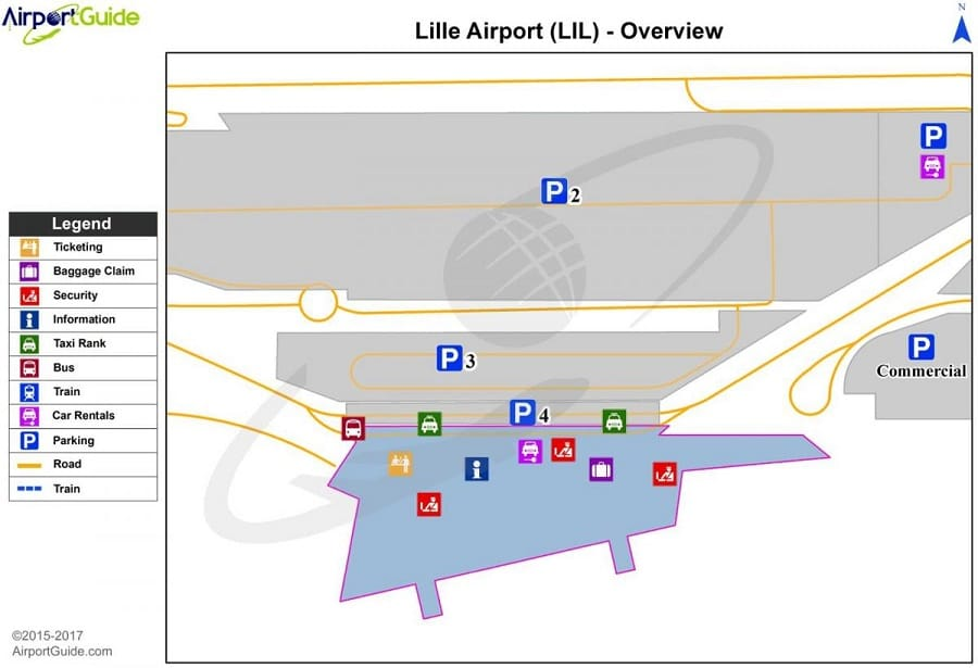 Plan des parkings de l'aéroport de Lille