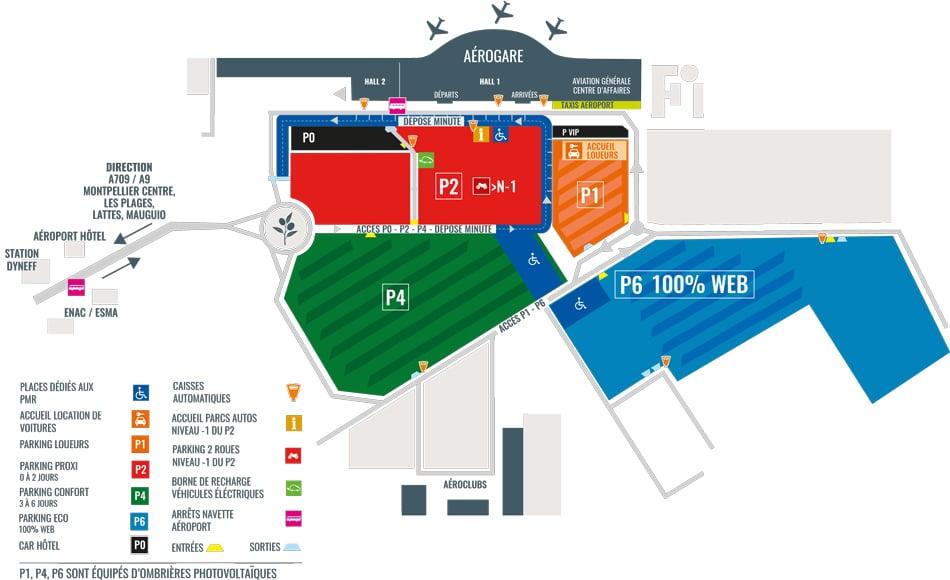 Plan des parkings de l'aéroport de Montpellier