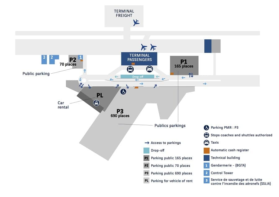 Plan des parkings de l'aéroport de Rennes