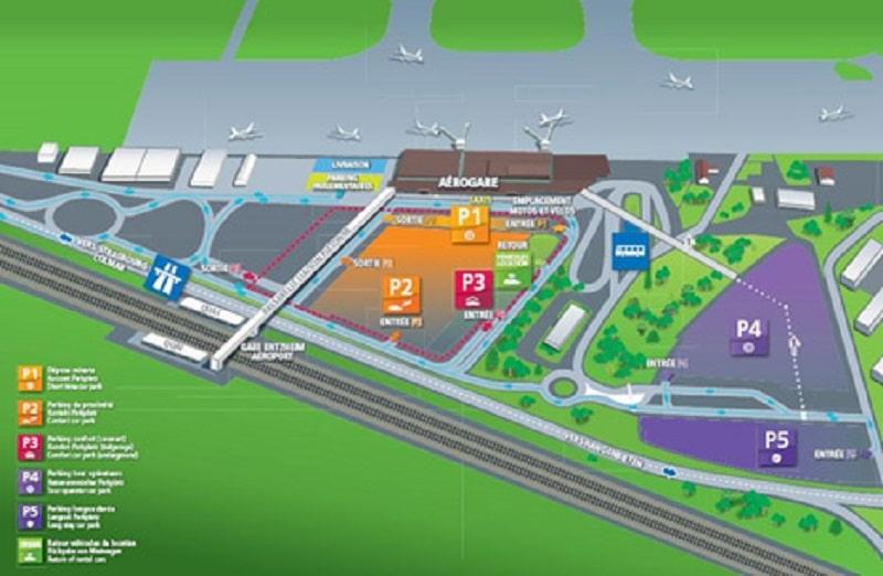 Plan des parkings de l'aéroport de Strasbourg