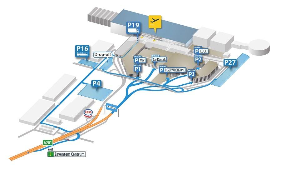 Plan des parkings de l'aéroport de Bruxelles