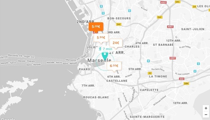 Parking pas cher à Marseille, carte