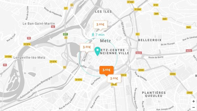 Carte des parkings pas cher à Metz
