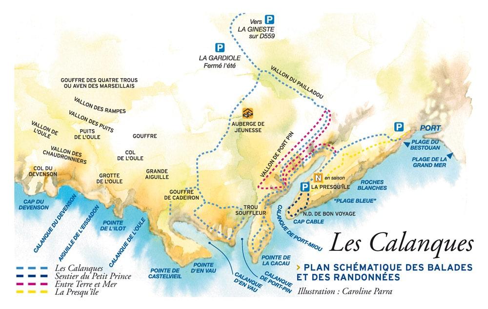 Plan des calanques de Cassis pour faire des randonnées