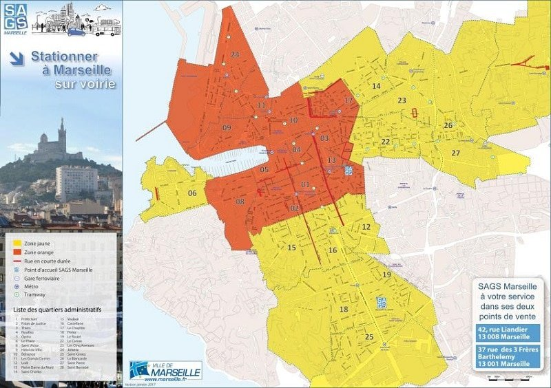 Zones de stationnement, parking à Marseille