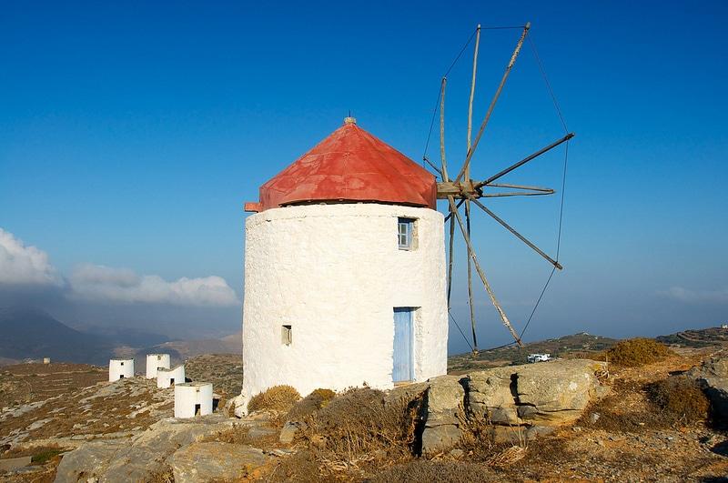 Les Moulins de Chora, Patmos, Grèce, Mer Égée