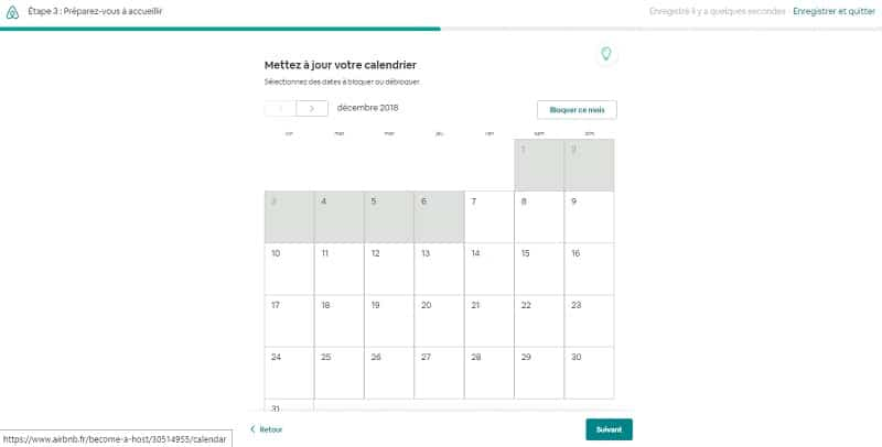 Créer annonce Airbnb, calendrier