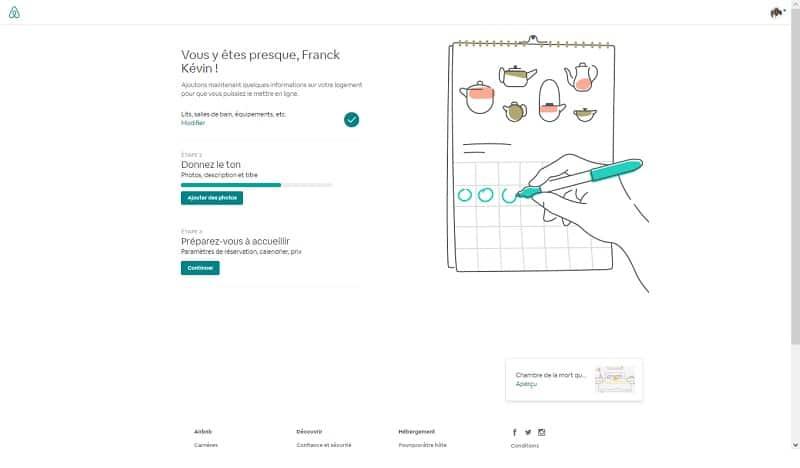 Créer annonce d'une chambre sur Airbnb, calendrier