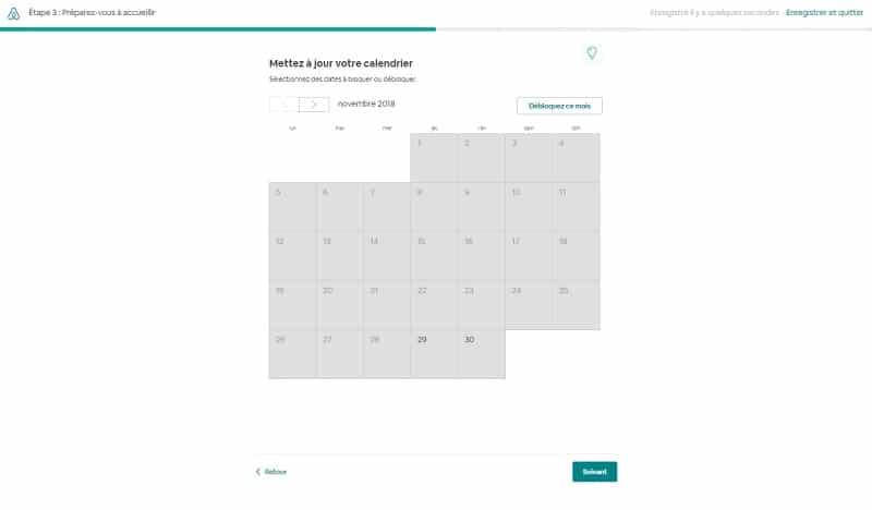Créer annonce d'une chambre sur Airbnb, jours calendrier