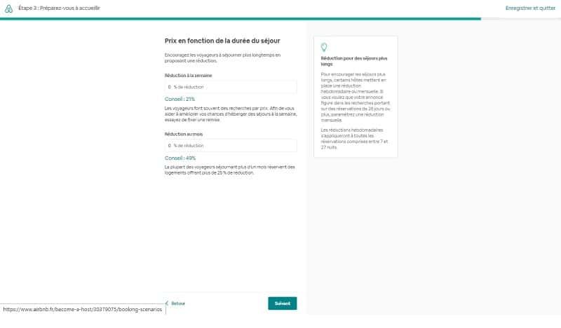 Créer annonce d'une chambre sur Airbnb, réduction à la semaine