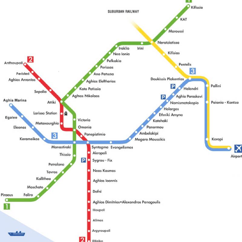 Plan du métro, Athènes
