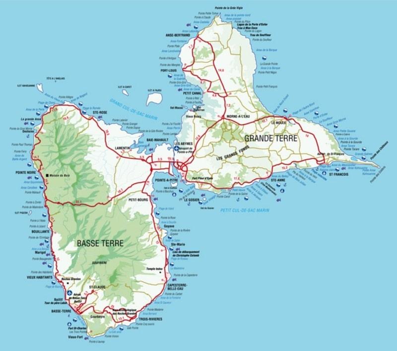 Carte et plan de la Guadeloupe