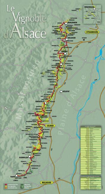 Carte de la Route des Vins d'Alsace