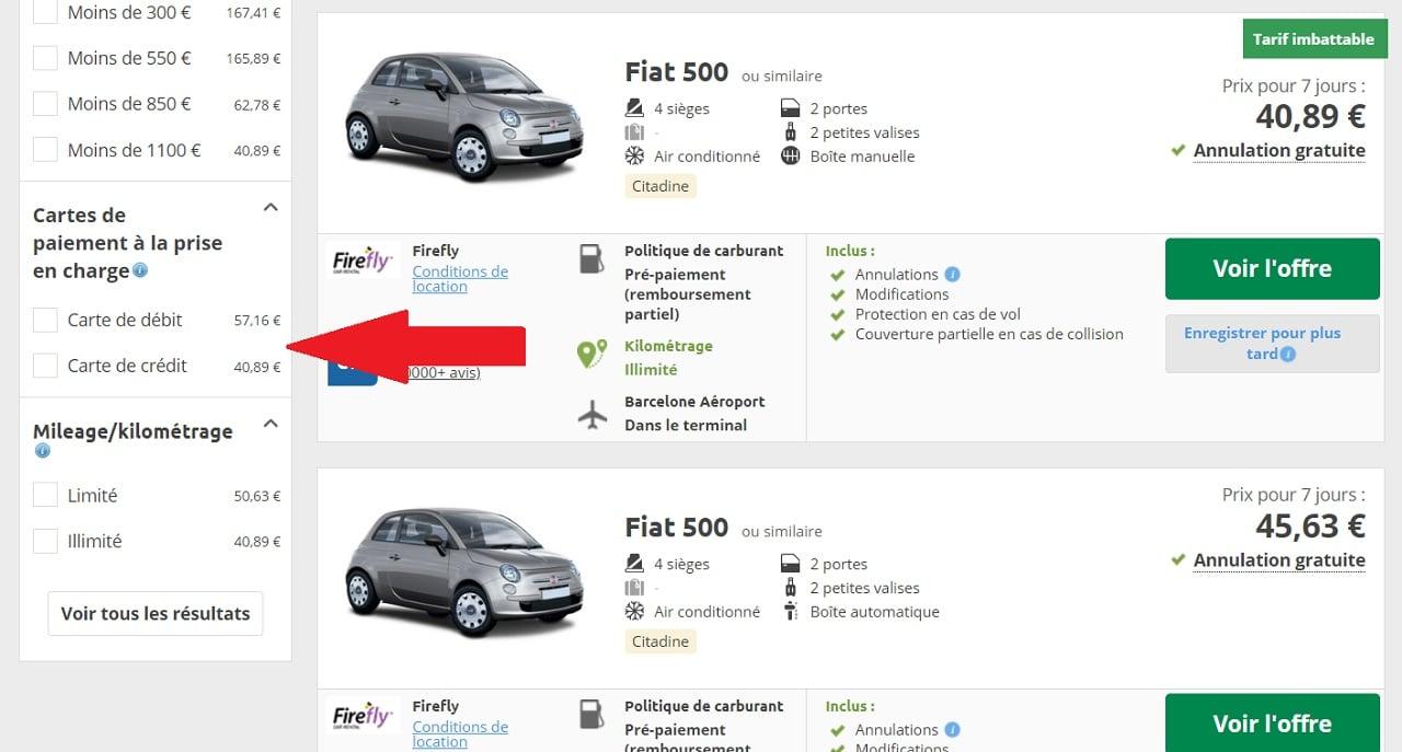 Rentalcars, comparateur de location de voiture, filtre carte de débit/crédit