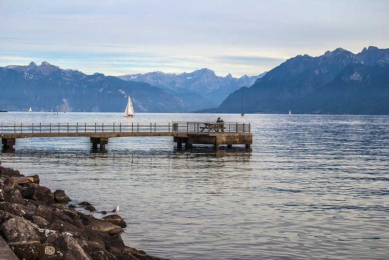 Plage de Vidy, Lac Léman, Lausanne