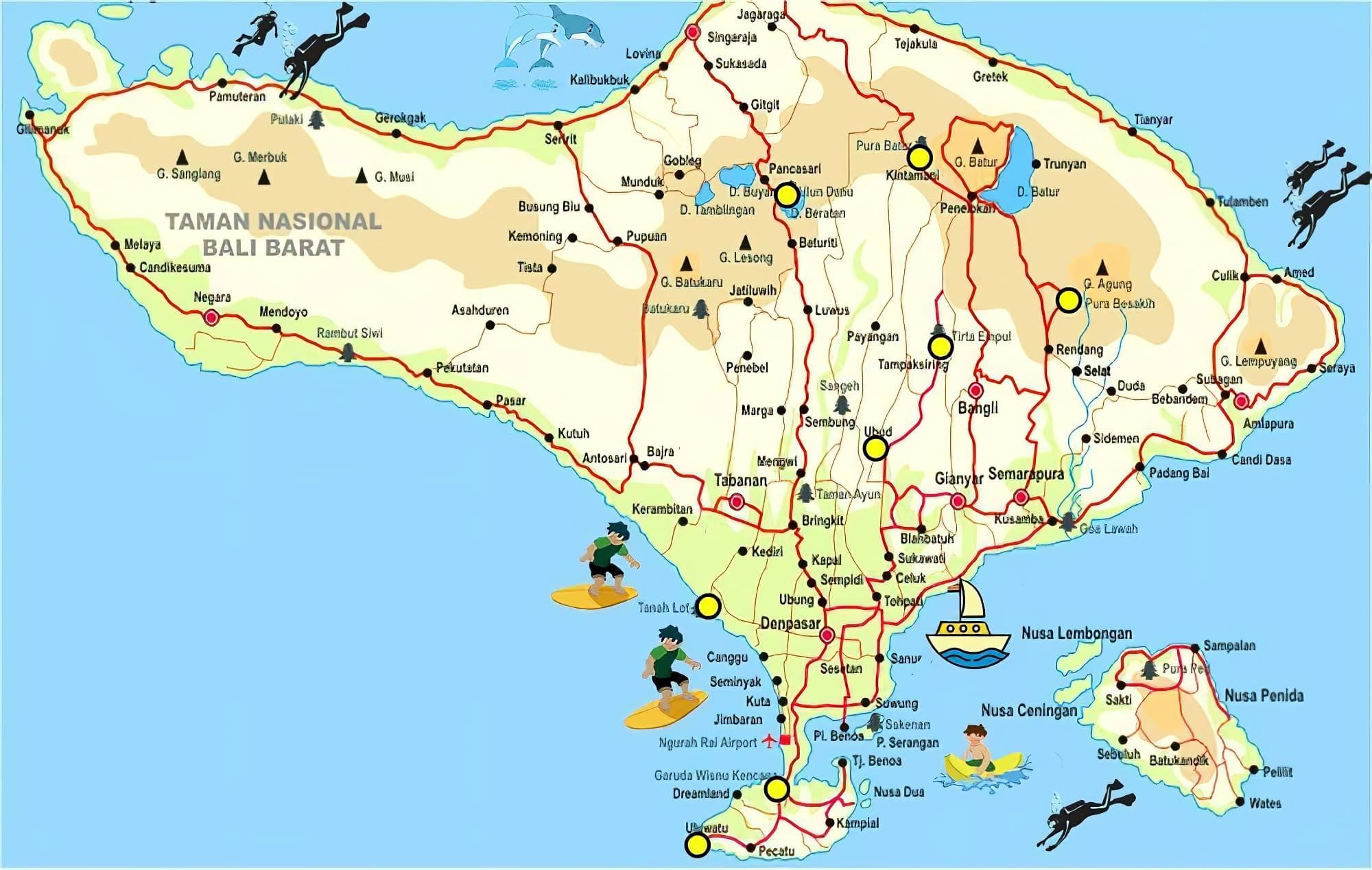 Carte Bali Surf.Cartes Et Plans Detailles De Bali