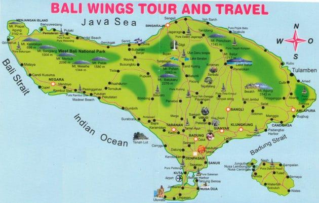 Carte Bali Lieux Touristique.Cartes Et Plans Detailles De Bali