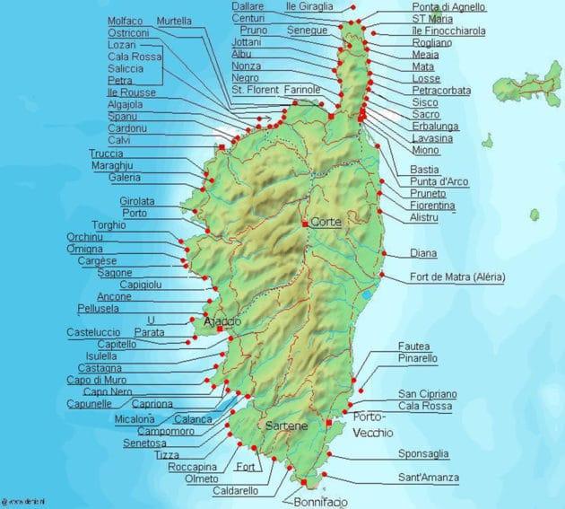 Cartes et plans détaillés de la Corse