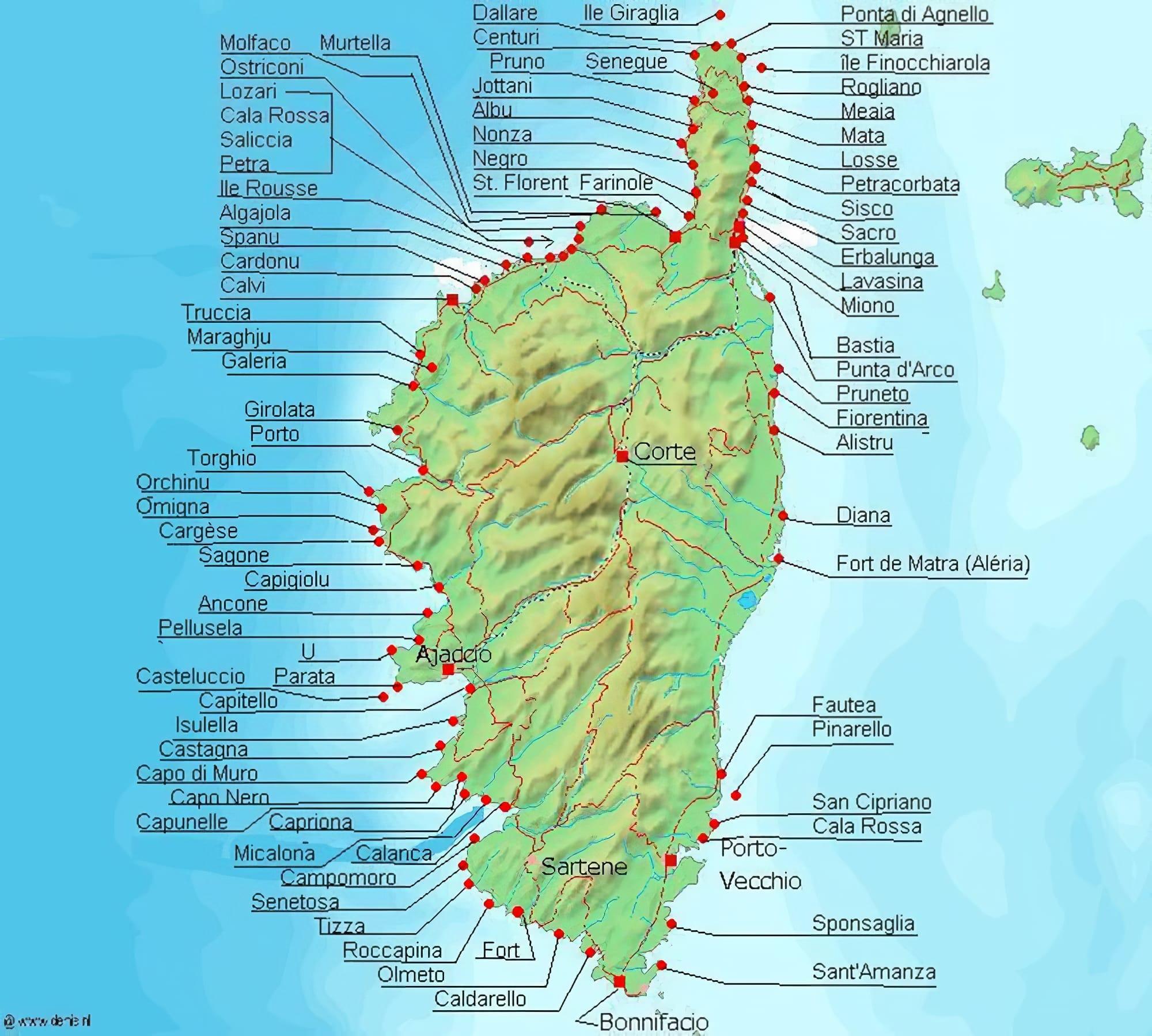 Carte Corse Nord.Cartes Et Plans Detailles De La Corse
