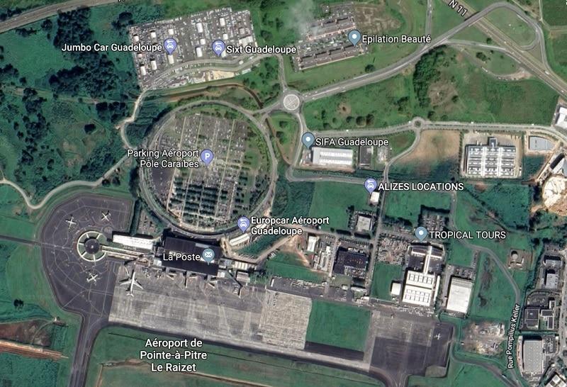 Plan des parkings de l'aéroport de Guadeloupe