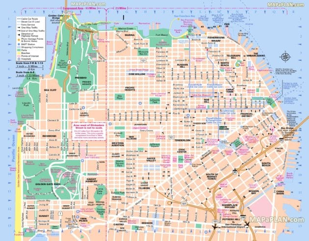 Cartes et plans détaillés de San Francisco