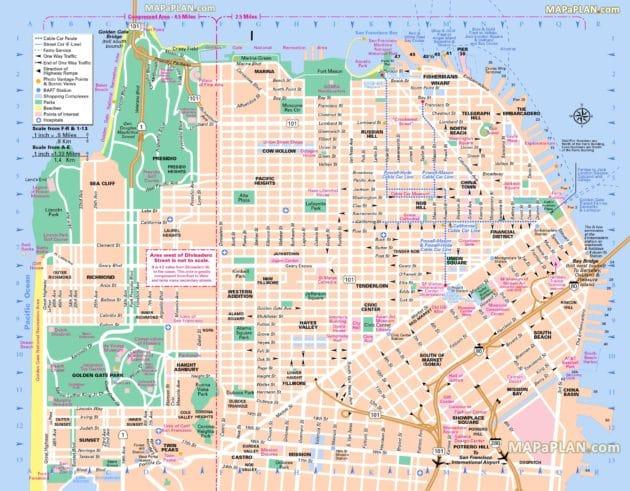 Cartes et plans détaillés de San Francisco